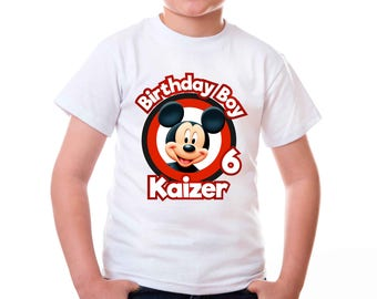 Personalized Mickey Mouse Tee Shirt Tshirt Image Iron On Transfer Heat Press Birthday Boy Birthday Party Printable DIY - Digital File