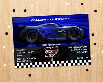Personalized Cars 3 Jackson Storm Lightning Mcqueen Birthday Party Invitation Blue Race Car Racing Invite Printable DIY - Digital File