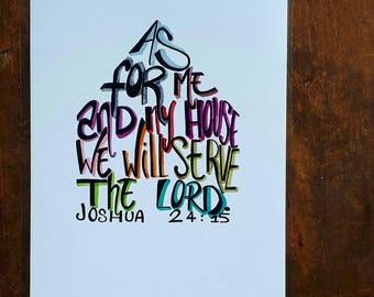 A4 bible verse print Joshua 24:15