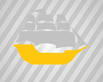 Pirate Ship Silhouette - Svg Dxf Eps Silhouette Rld RDWorks Pdf Png AI Files Digital Cut Vector File Svg File Cricut Laser Cut