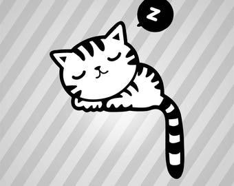 Sleeping Kitty - Svg Dxf Eps Silhouette Rld RDWorks Pdf Png AI Files Digital Cut Vector File Svg File Cricut Laser Cut