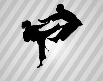 karate Silhouette - Svg Dxf Eps Silhouette Rld RDWorks Pdf Png AI Files Digital Cut Vector File Svg File Cricut Laser Cut