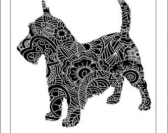 Scottish Terrier Papercut Template - Svg Paper Cut Templates Stencil Line Art Henna Mandala Pdf Cut Files Digital Clip Art Drawing