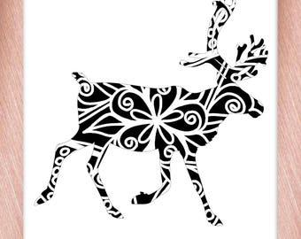 Reindeer Papercut Template Mandala Henna - Svg Paper Cut Templates Stencil Line Art Pdf Cut Files Digital Clip Art Drawing