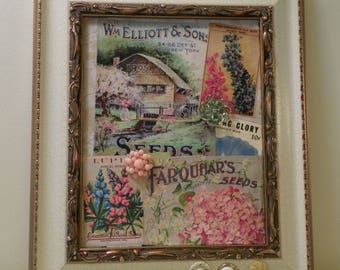 Vintage seed packets, catalog collage/Flower Seeds collage/unique wqll hanging, home decor/OOAK