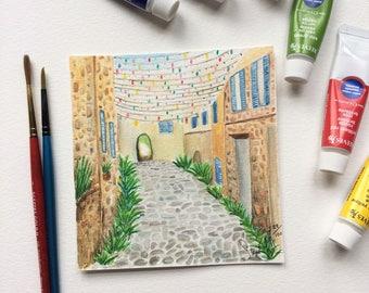 Original Watercolor Painting Street of Spain