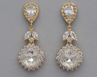 Gold Wedding Earrings, Rose Gold Bridal Earrings, Swarovski Crystal Earrings, Rhinestone Earrings, Dangle Earrings, Bridesmaids Jewelry