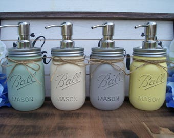 Mason jar soap dispenser, bathroom decor, house warming, painted mason jars, rustic, shabby chic