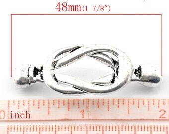 1 magnetic clasp set for bracelet silver 48 x 18 mm