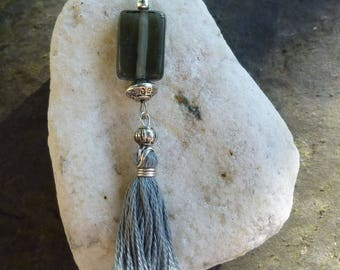 Grey and silver beads and gray tassel earrings