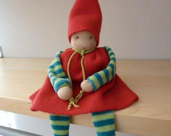 Waldorfpuppe, 28 cm, rag doll, baby doll, dwarf, red,