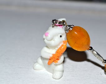 Bag charm / Keychain rabbit and his carrot