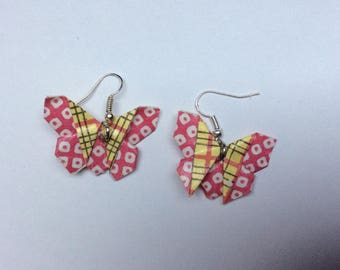 Pink and yellow origami butterfly earrings