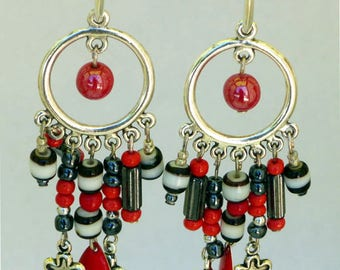 Earrings Bohemian natural stones and glass beads