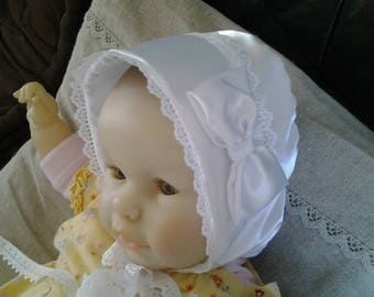 Satin christening hat size 6 months