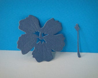 Midnight Blue hibiscus cutout for scrapbooking and card