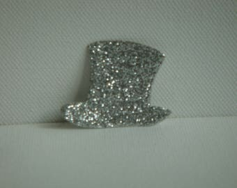 Cut silver glitter for creating man Bowler Hat