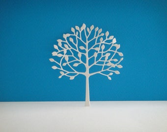 Cut little white tree with leaves for scrapbooking and card