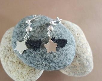 dangling earrings stars and tassels