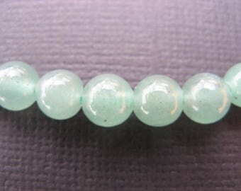 Aventurine: 5 10 mm round beads - green gemstones