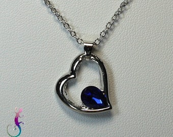 Chain + A191 Blue Crystal heart pendant