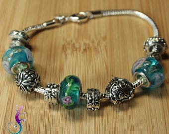 Kit European style with turquoise lampwork murano beads and metal charms