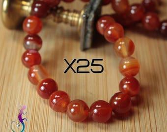 25 8mm carnelian beads