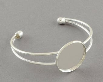 set of 5 bracelets in silver for medium 25 mm cabochon