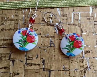 2 button flowers for pierced earrings