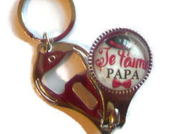 """Key - ring cut nails-lime-bottle opener/Dad / """"I love you Dad"""" / gift end of year/birthday/thank you"""