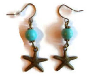 Bronze, turquoise Starfish earrings / gift / birthday / mother's day