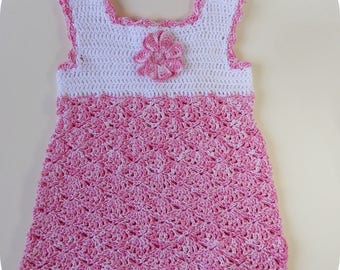 Pink and white cotton dress, baby girl or Reborn doll and other dolls clothes