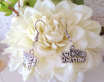 The choice for the knitting Addict, silver-plated earrings