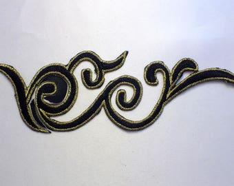 FABRIC FUSIBLE APPLIQUE: 180 * 60mm black/gold tone ornament