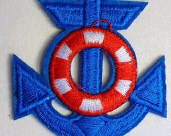 FABRIC FUSIBLE APPLIQUE: anchor blue 60 * 50mm