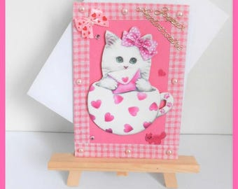 birthday child, white cat in a teacup card