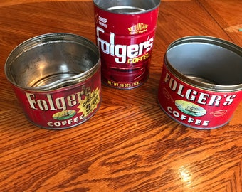 Lot of 3 Vintage FOLGER'S Coffee Cans