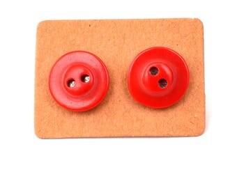 Button earrings, red button earrings, red earrings, earrings, quirky earrings