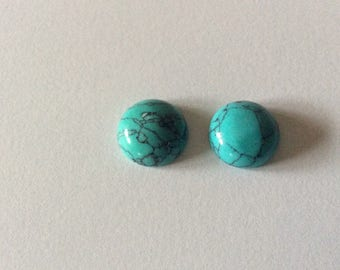 2 turquoise 12mm round cabochons