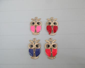4 charms OWL OWL metal golden color