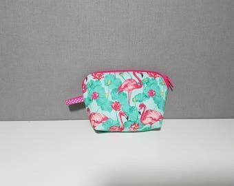"""Wallet trendy and stylish fabric """"Flamingo"""", 11 cm x 8 cm x 3 cm at the base"""