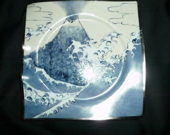 Square hand painted porcelain pin tray: design inspired by Hokusai, water, air, fire, Earth, ether (+ metal)