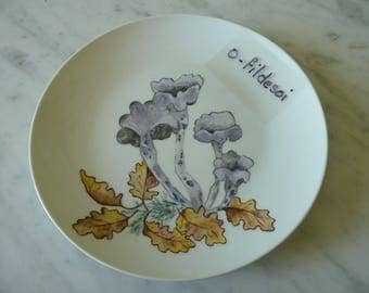 "Dessert plate porcelain decor hand painted ""Autumn"" (No. 1)"