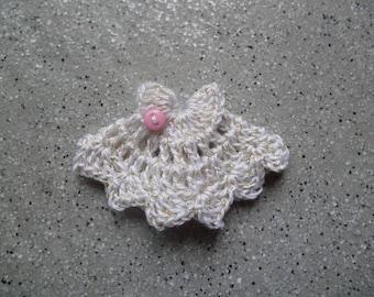 Robe miniature au crochet en coton blanc fil doré, miniatures, crochet, scrapbooking, appliqué robe miniature