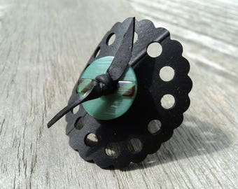 Ring made with recycled tractor inner with green button - round ring - fashion ring - ring lace effect pattern