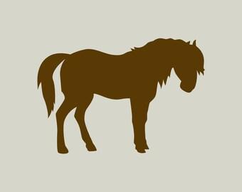 Pony. Pony silhouette. Pony stencil (ref 342)