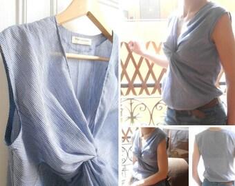twisted criss-cross effect sleeveless top