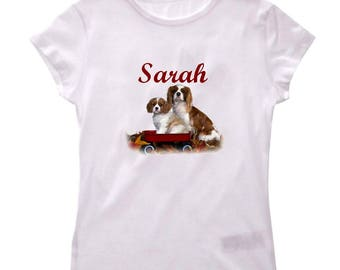 T-shirt Cavalier king charles girl personalized with name