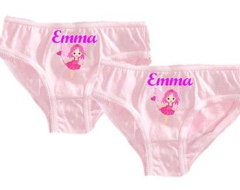 Set of 2 girl panties pink fairy personalized with name