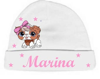 Personalized with name white small dog baby Hat